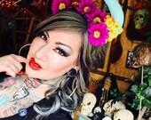 Horns, Flower crown, Fairy Nymph, Cosplay, Horn headdress,  Demon horns, Burning man, Edwardian Ball, MsFormaldehyde, Daisy, Flower
