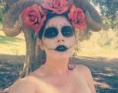 Ram horns, Horns, Burning man, Skull, Skull horns, brown horns, Coachella, Burning Man, Festival, EDM, Cosplay, Halloween