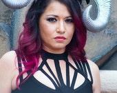Burning man, EDM, Horn headdress, Silver horns, Ram horns, Halloween, Ready to ship, Skull, Skull headdress, Metal, Gothic, Fairy goddess