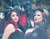 White horns, Demon horns, Devil horns, Horn headdress, Tiki Oasis, Monsters, Horror, Horror horns, MsFormaldehyde, Ready to ship