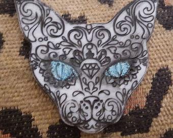 Cat, Sugar skull cat, Cat hair clip, Cat barrette, Halloween, Hair clip, Gifts for her, Day of the dead, Dia de los muertos