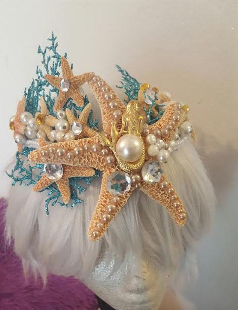 Under the Sea Sea goddess Ariel Mermaid crown Sea Mermaid headband Nautical Ocean Beach mermaid