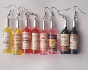 Wine earrings, Wine bottle, Wine bottle earrings, Alcohol bottle earrings, Winery, Red wine, white wine, champagne, merlot