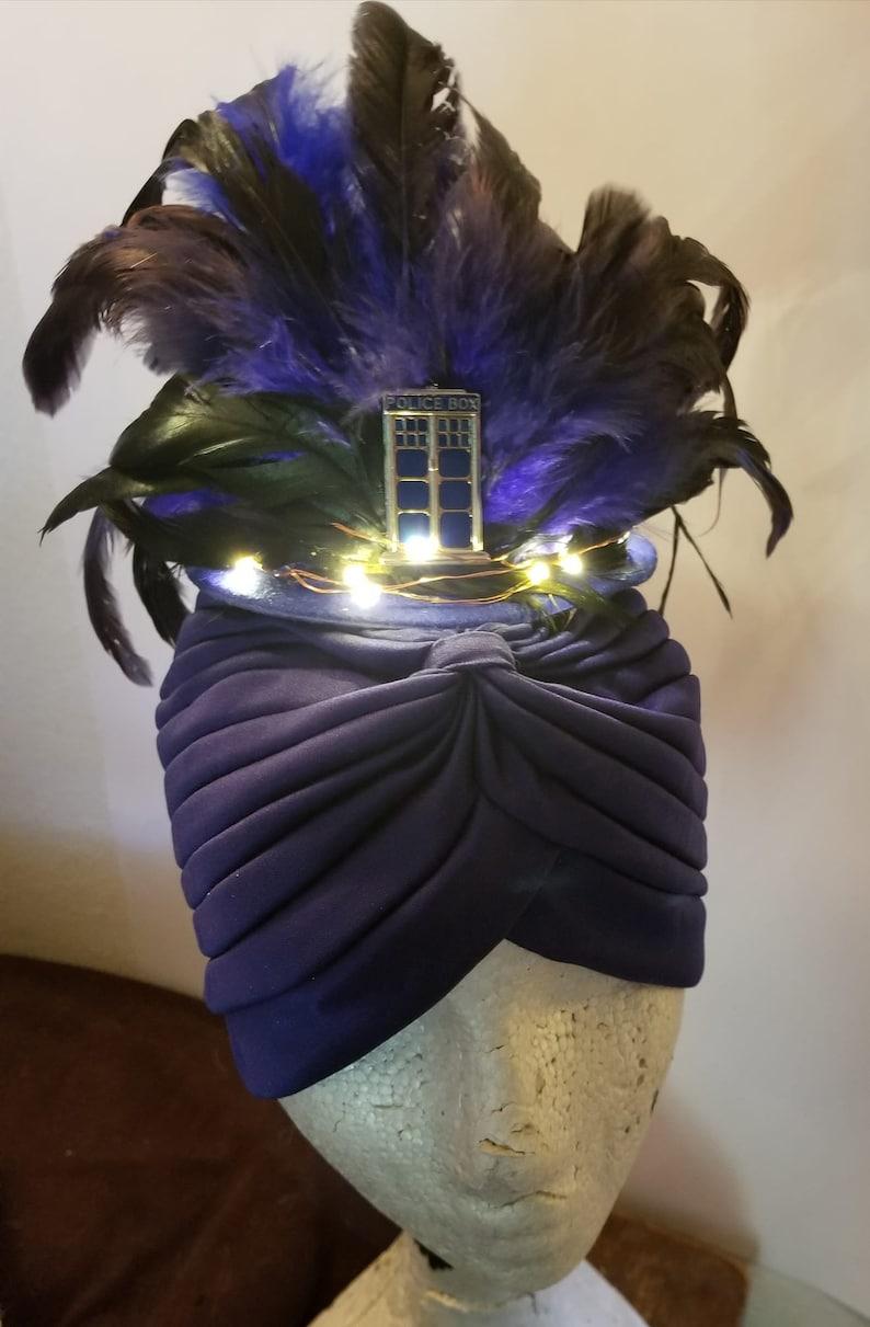 Tardis Feather hat MsFormaldehyde Tardis Fascinator Tardis Hat Dr Who Light up hat Doctor LED Blue feather