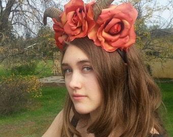 Horn,Horn Headband, Burning man, Festival, Flower crown, Floral Crown, Horn headpiece, Goat horns