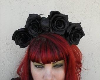 Black crown, Rose Crown, Flower Crown, Festival flowers, Rose, Rose headband, black rose