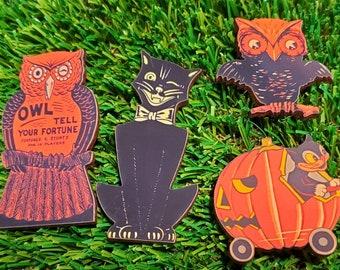 Vintage Halloween pins, pins, Halloween brooch, Gothic, goth pin, cat brooch, owl brooch
