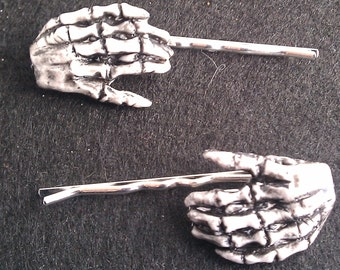 Misfits, Halloween, Skeleton Hands, Barrette, bobby pin, zombie hands, skeleton, day of the dead