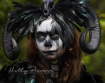 Horn headdress, Skull headdress, Skull, Black horns, Halloween, Halloween horns, Day of the dead, Horns, Gothic, Horror