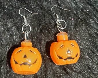 Pumpkin earrings, Jack o latern earrings, Halloween earrings, Halloween, horror