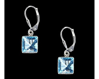 Sterling Silver and Faceted Swiss Blue Topaz Square Earrings, Blue Topaz Earrings, November Birthstone, Gifts for her, Wedding Jewelry