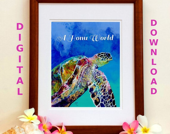 Turtle Printable Sea Turtle Digital Art Prints 8x10 and 5x7 printable wall art home decor nursery prints  downloadable ocean animal prints