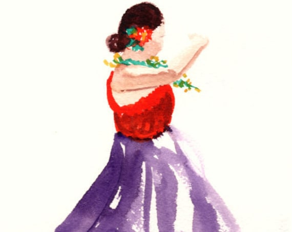 Hula Girl Print, Hula Art, Hula Dancer Painting, Hawaii Art, Hula Watercolor, Hawaiian Decor, Hawaiian Hula Dance, Aloha, Merrie Monarch
