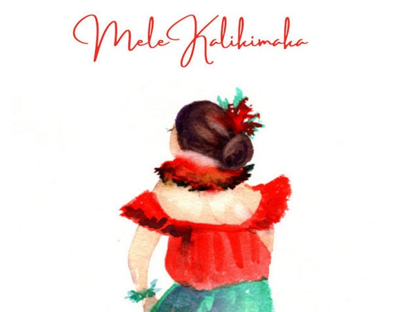 Mele Kalikimaka Christmas Card Download, Hawaiian Christmas Card Printable, Hawaii Christmas, Christmas Hula Girl, DIY Card, 5x7 card, PDF