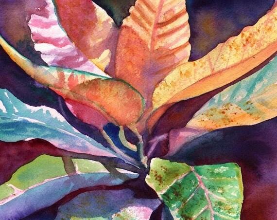 Tropical Leaf art, Tropical Foliage prints, Kauai art, Hawaiian painting, Hawaiian decor, Tropical interior design, Hawaiiana, Hawaii art