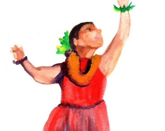 Hula Watercolor,  Original Painting,  Hula Dancer Figure,  Watercolor People,  Hawaii Decor, Hawaii Art, Watercolor Sketch Portrait