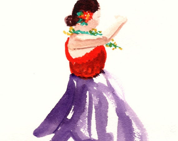 Original Hula Art Hula Girl Painting Hula Dancer Watercolor Hawaiian Decor Hawaii Art Hawaii Watercolor Paintings Hawaiian Hula Dance Aloha