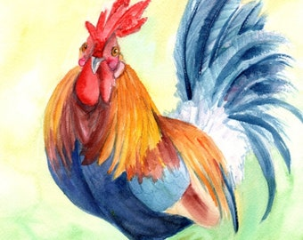 Rooster Painting, Rooster Print, Rooster Art, Chickens Roosters, Chicken Paintings, Kauai Art, Kitchen Decor, Barnyard Chickens, Farm art