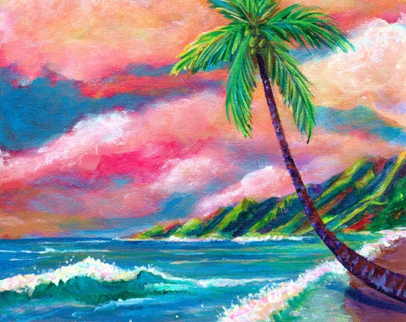 Tropical Na Pali Coast Art of Kauai Hawaii, Seascape Painting, Hawaii Decor, Hawaiian Painting, Tropical Print, Hawaii Wall Art, Palm Tree