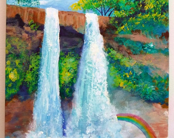 Kauai Art, Wailua Falls Painting, Wailua Art, Hawaii Art, Wailua Falls Rainbow, Original Kauai Art, Kauai artist, waterfall painting