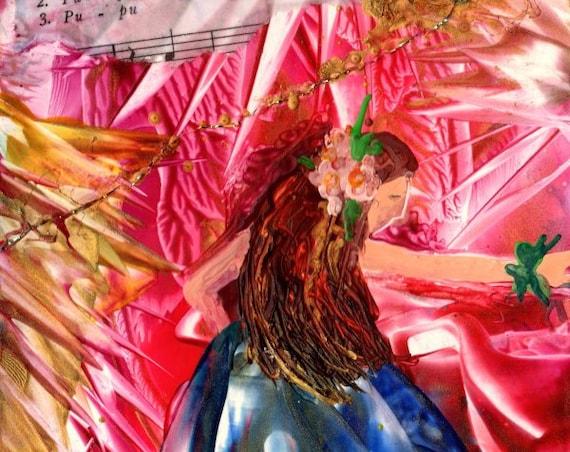 Original Hula Painting, Hula Girl Art, Encaustic Art, Pupu Hinu Hinu, Paintings with wax, Hawaii Art, Hawaiian Decor, Hula Dancer Art