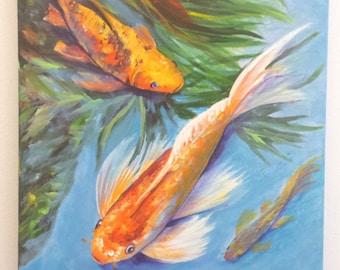 Koi Art, Koi Painting, Koi Fish Original Acrylic Painting, Japanese Koi, Oriental Art, Zen Water Garden,  Hawaiian Interior Design