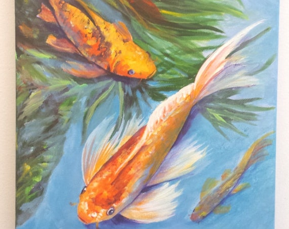 Koi Art, Koi Painting, Koi Fish Original Acrylic Painting, Japanese Koi, Oriental Art, Zen Water Garden,  Hawaiian Interior Design