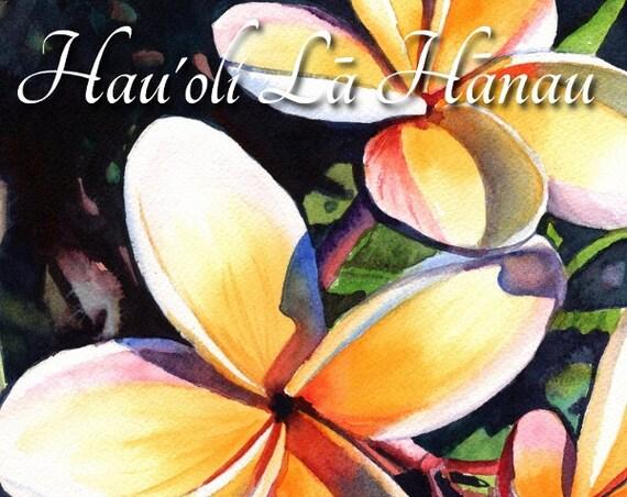 Printable DIY Happy Birthday Hawaiian Language card 5x7 pdf from Kauai Hawaii Hau'oli La Hanau Plumeria