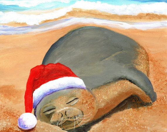 Hawaiian Monk Seal, Hawaii Christmas Art, Mele Kalikimaka, Beach Christmas, Hawaii Monk Seal, Hawaii Hoiday, Tropical Christmas