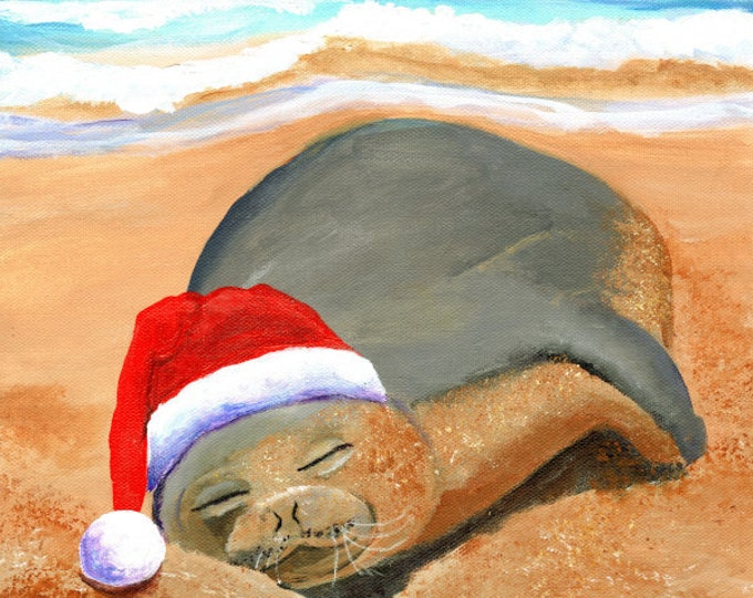 Hawaiian Monk Seal, Hawaii Christmas Art, Mele Kalikimaka, Beach Christmas, Hawaii Monk Seal, Hawaii Hoiday, Tropical Christmas