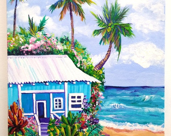 Kauai Beach Cottage, Plantation Cottage by the Beach, Kauai Original Acrylic Painting, Kauai Wall Art, Kauai Decor, Hawaiian Art, Palm Trees