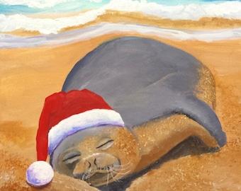 mele kalikimaka hawaiian monk seal original acrylic painting from kauai hawaii christmas holiday santa hat animals art for kids children