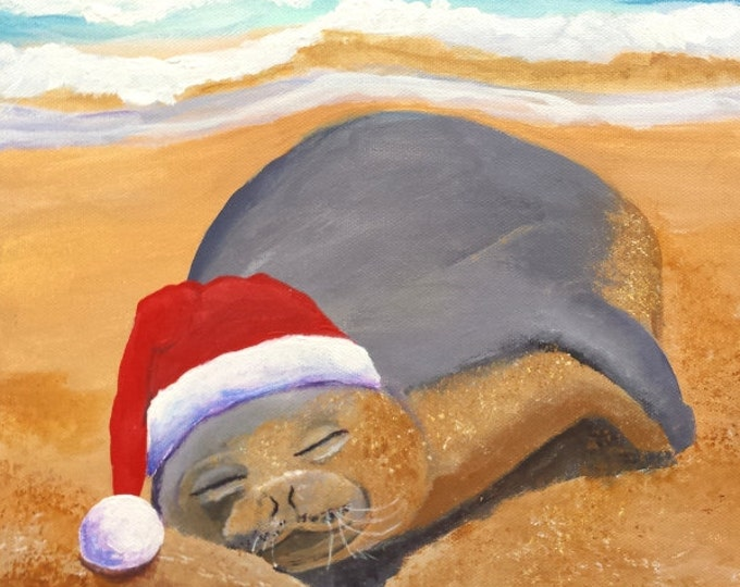 Hawaiian monk seal original acrylic painting, Mele Kalikimaka Christmas canvas wall art, Hawaii Christmas, Hawaii Art, Beach Christmas