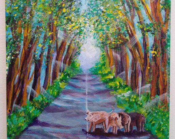 Kauai Tree Tunnel with Feral Pigs,  Kauai Original Acrylic Painting, Kauai Wall Art, Kauai Decor, Hawaiian Art, Koloa Tunnel, Piggies