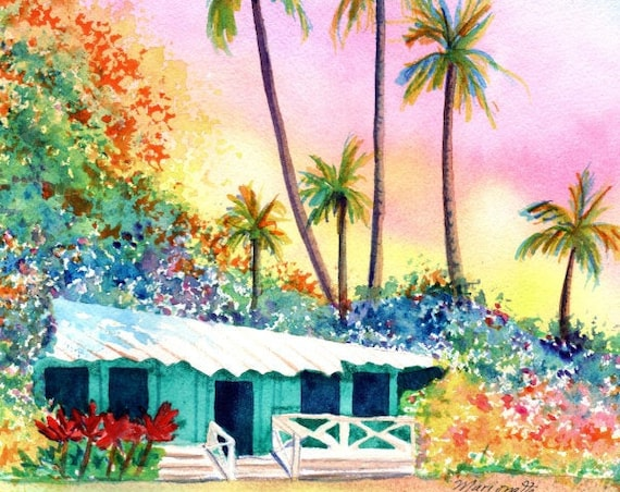 Hawaiian Cottage Original Watercolor Painting,  Hawaii Art, Kauai Art, Hawaii Painting, Plantation Cottage, Hawaii House, Tropical Sunset