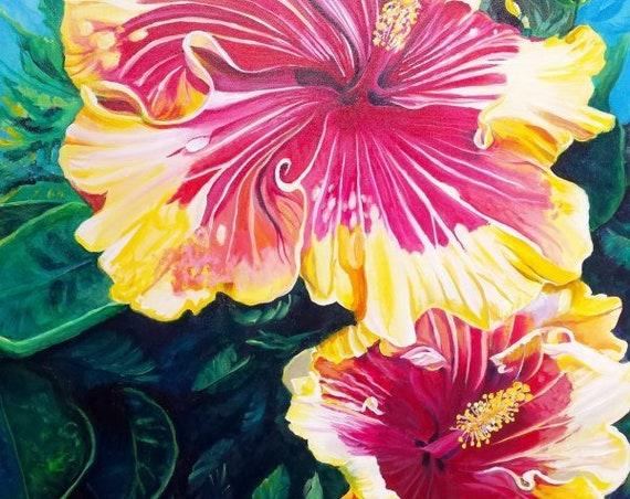 Hibiscus Flower, Hibiscus plant, hawaii art print, hawaiian art, hibiscus painting, kauai maui oahu, hawaiiana, tropical flowers, aloha