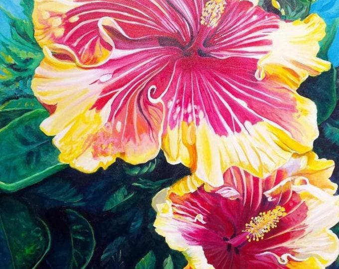 red and yellow hibiscus art print, hawaii prints, hawaiian art, hibiscus paintings, kauai maui oahu, hawaiiana, tropical flowers, aloha