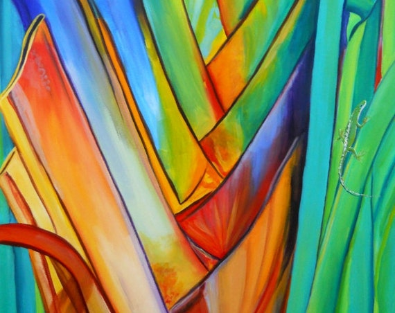 Heliconia art, tropical print, Hawaiian painting, Rainbow Heliconia, Giant Heliconia, Gecko art, Anole art, Hawaii Art, Hawaiian Decor