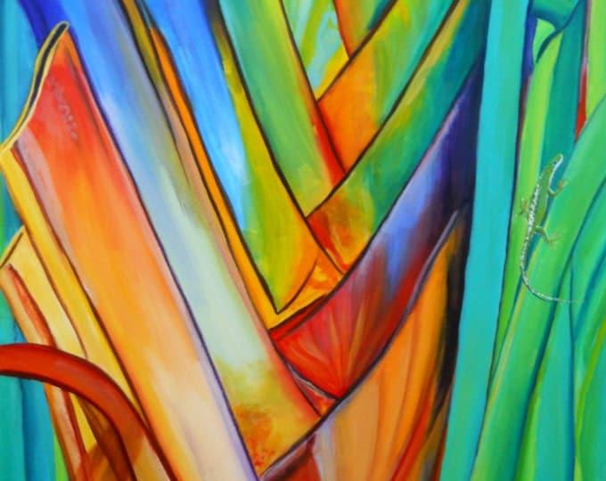 Heliconia art, tropical print, Hawaiian painting, Rainbow Heliconia, Giant Heliconia, Gecko art, Anole art, Hawaii Art, Hawaiian Decor