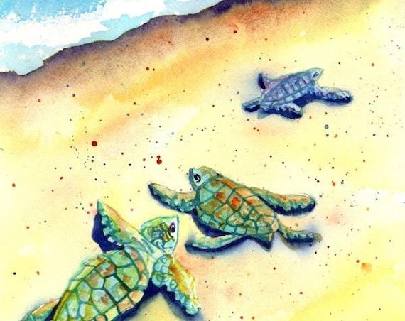 Baby Sea Turtles, Kauai Original Watercolor Painting, Kauai Wall Art, Hawaii Decor, Hawaiian Art, Ocean Life, Honu, Fathers Day Gift