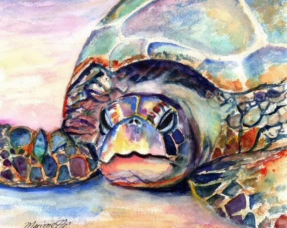 sea turtle art print nursery decor hawaiian paintings hawaii art green sea turtles beach decor sea turtle painting beach lovers gift