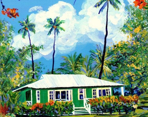 Sunny Day Plantation Cottage, Kauai Print, Kauai Painting, Kauai Wall Art, Kauai Decor, Hawaiian Art, Hawaii Artist, Waimea Cottages
