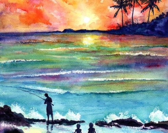 Family Portrait Print, Ohana Fishing, Gift for Dad, Fathers day Gift, Tropical Sunset, Watercolor, Hawaii Art, Hawaiian Painting, Kauai Art