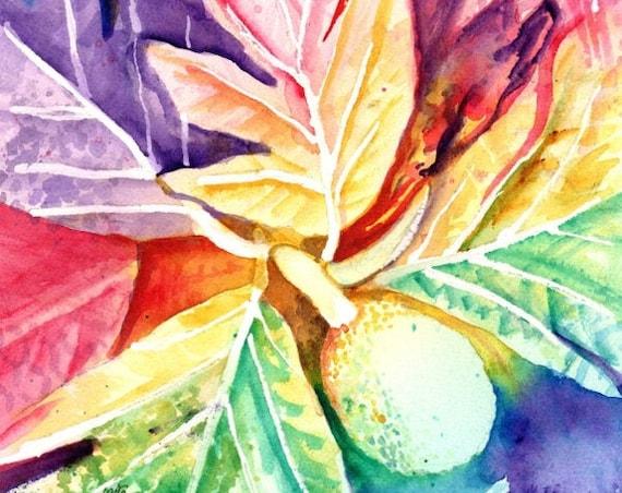Breadfruit Painting, Ulu Watercolor, Breadfruit Art, Hawaiian ulu, Hawaii Art, Hawaii Decor, Rainbow, Hawaiian design, Hawaii Painting