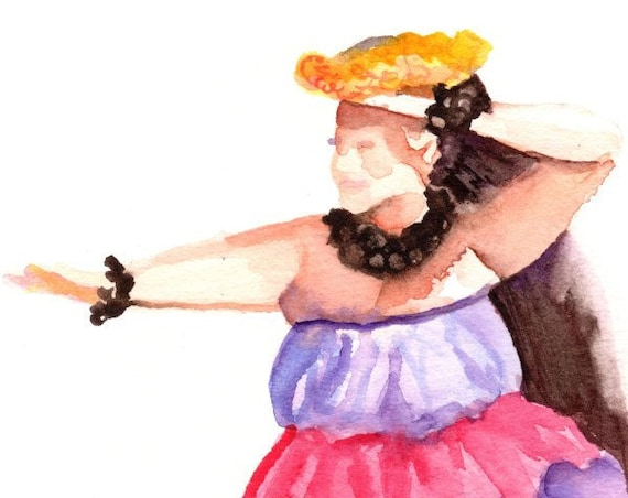 Hula Girl, Hula Paintings, Hula art print, Hawaiian Paintings, Hawaii art, Hawaiian art, Kauai art, Hawaii print, Aloha art, Hula Dance