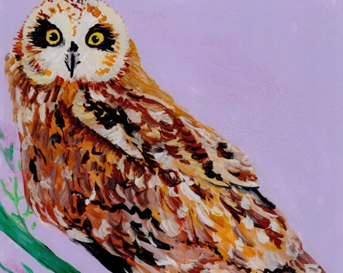 owl painting, owl print, Hawaiian pueo, pueo painting, square art print, Hawaiian owl, owl art prints, pueo art, birds of Hawaii