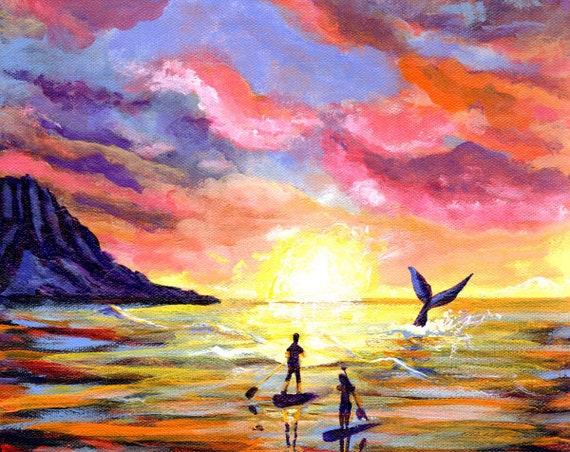 Sunrise Paddleboard, Kauai Print, Hawaii Painting, Whale Tail Art, Kauai Wall Art, Kauai Decor, Hawaiian Art, Ocean Life, Paddleboarders