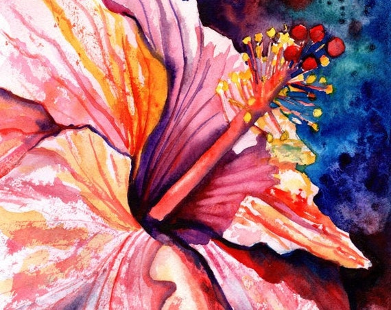 Sunny Pink Hibiscus Original Watercolor, hibiscus painting, hibiscus decor, hawaii art, hawaiian painting, hawaii wall art, flower art