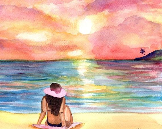 Sunset Watercolor, Original Watercolors, Beach Sunset Painting, Tropical Decor, Woman at Beach,  Hawaii art, Kauai art, Sunbathing