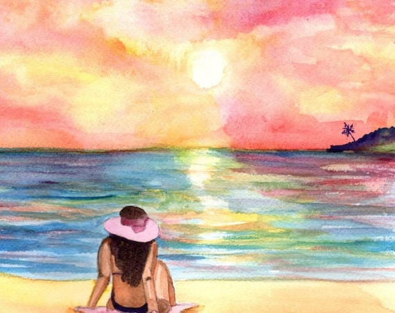 Sunset Watercolor, Original Watercolors, Beach Sunset Painting, Tropical Decor, Woman at Beach,  Hawaii art, Kauai art, Sunbathing
